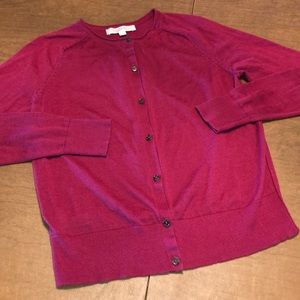 LOFT Red Wine Lightweight Cardigan Sweater M